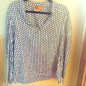 Tory Burch Black white Silver Sequin Top Size 12